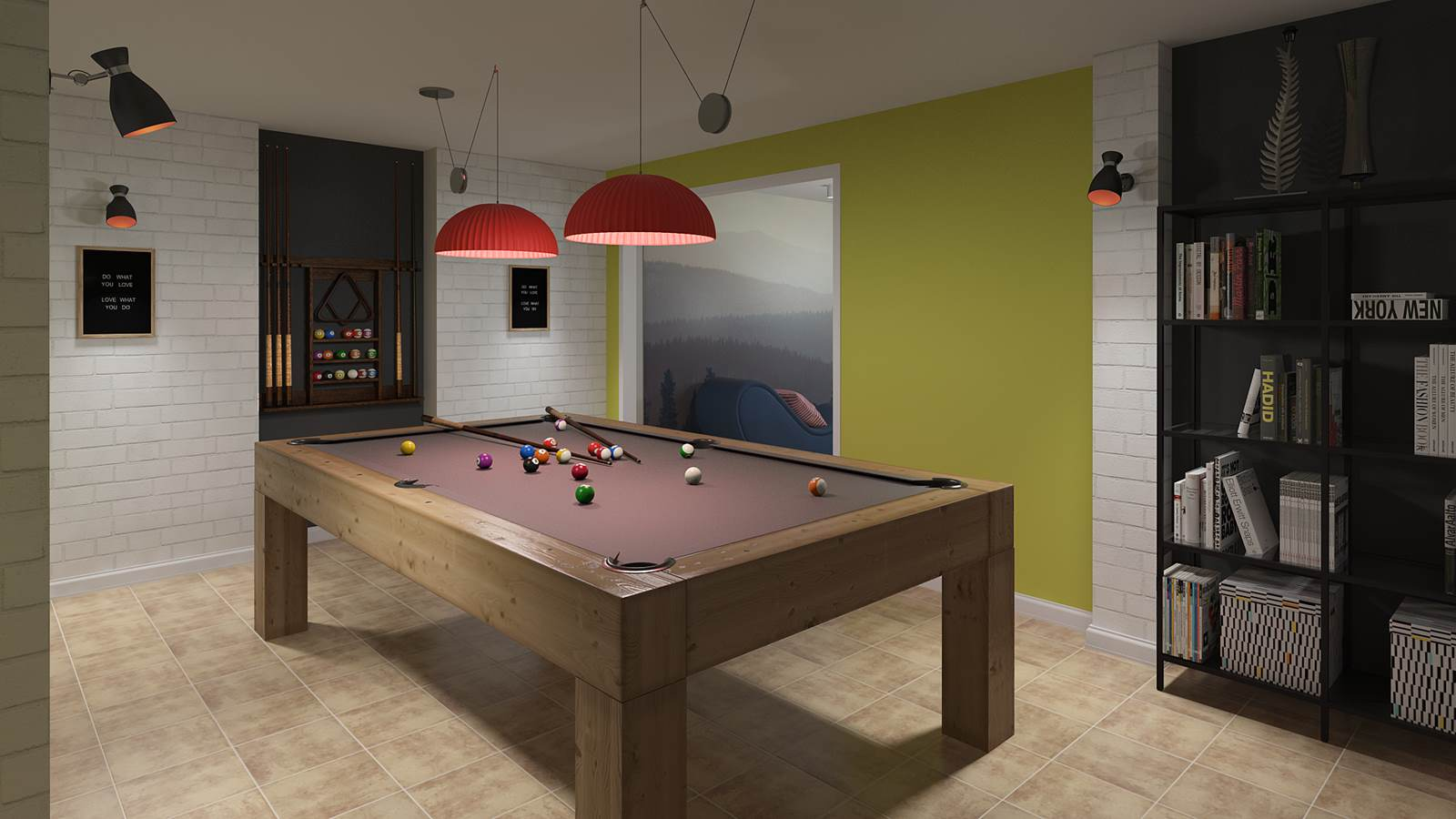 Diseño 3D sala ocio estilo fusión
