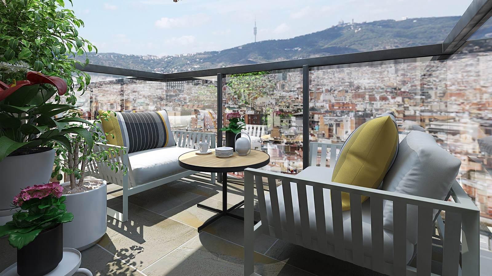 Diseño 3D terraza estilo mediterraneo