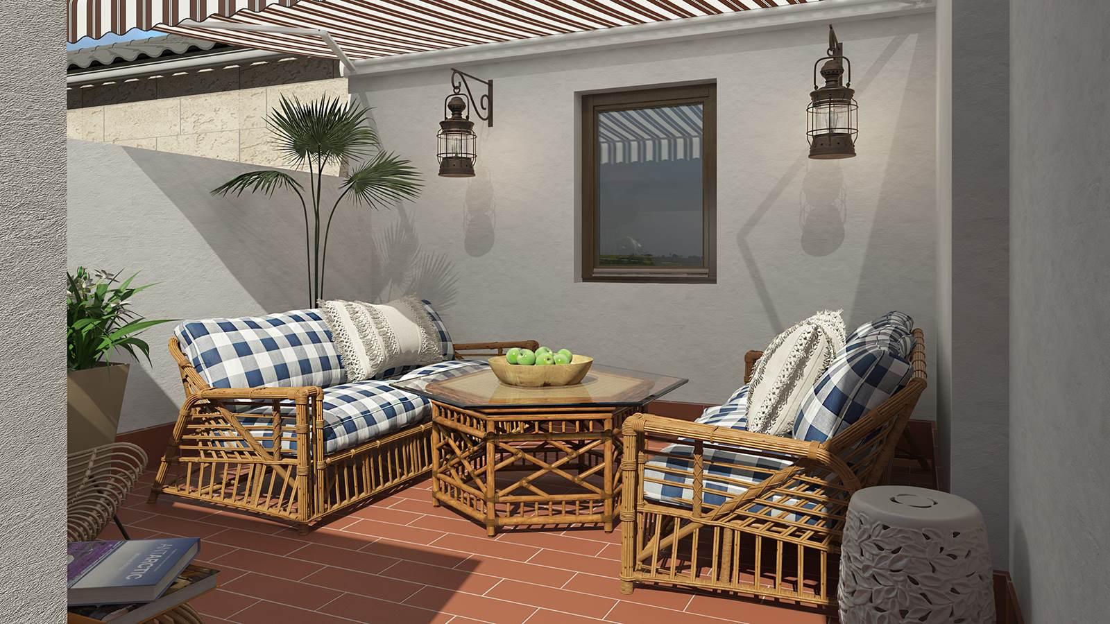 Diseño terraza 3D estilo mediterraneo